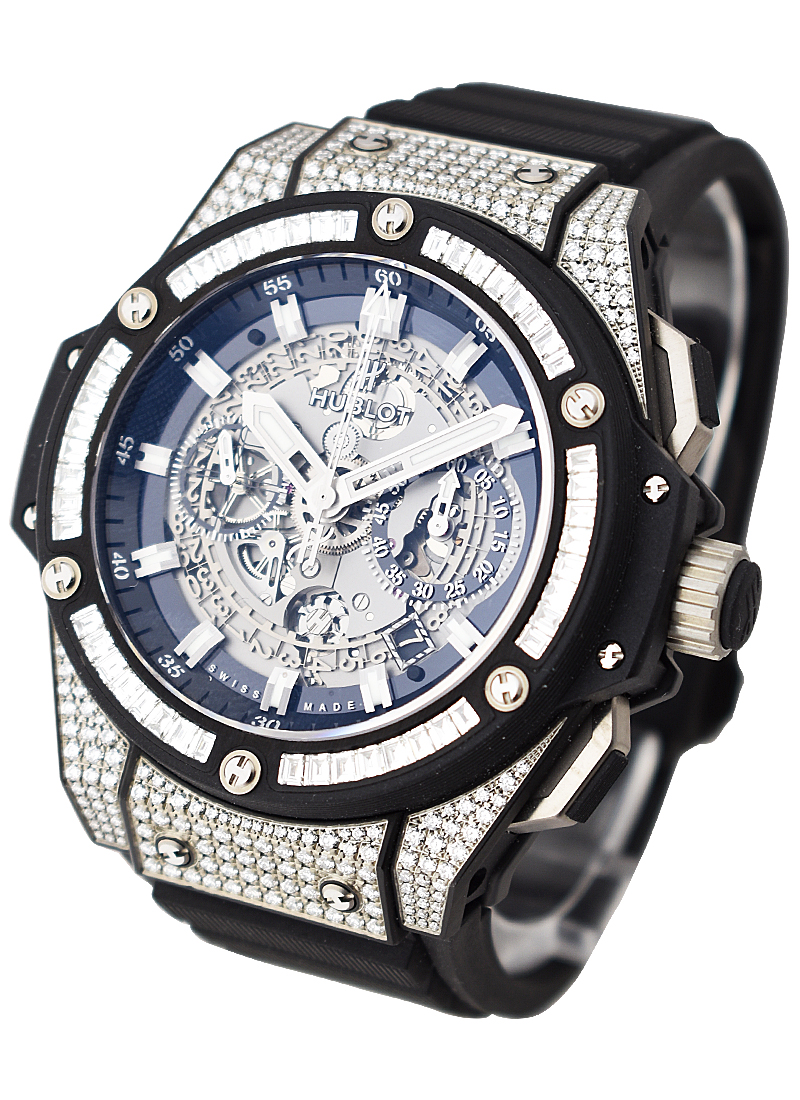 Hublot King Power Unico 48mm in Black Ceramic with Pave Diamond Bezel