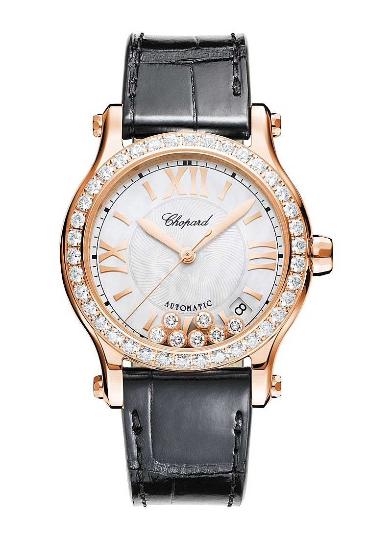 Chopard Happy Sport 36mm in Rose Gold with Diamond Bezel