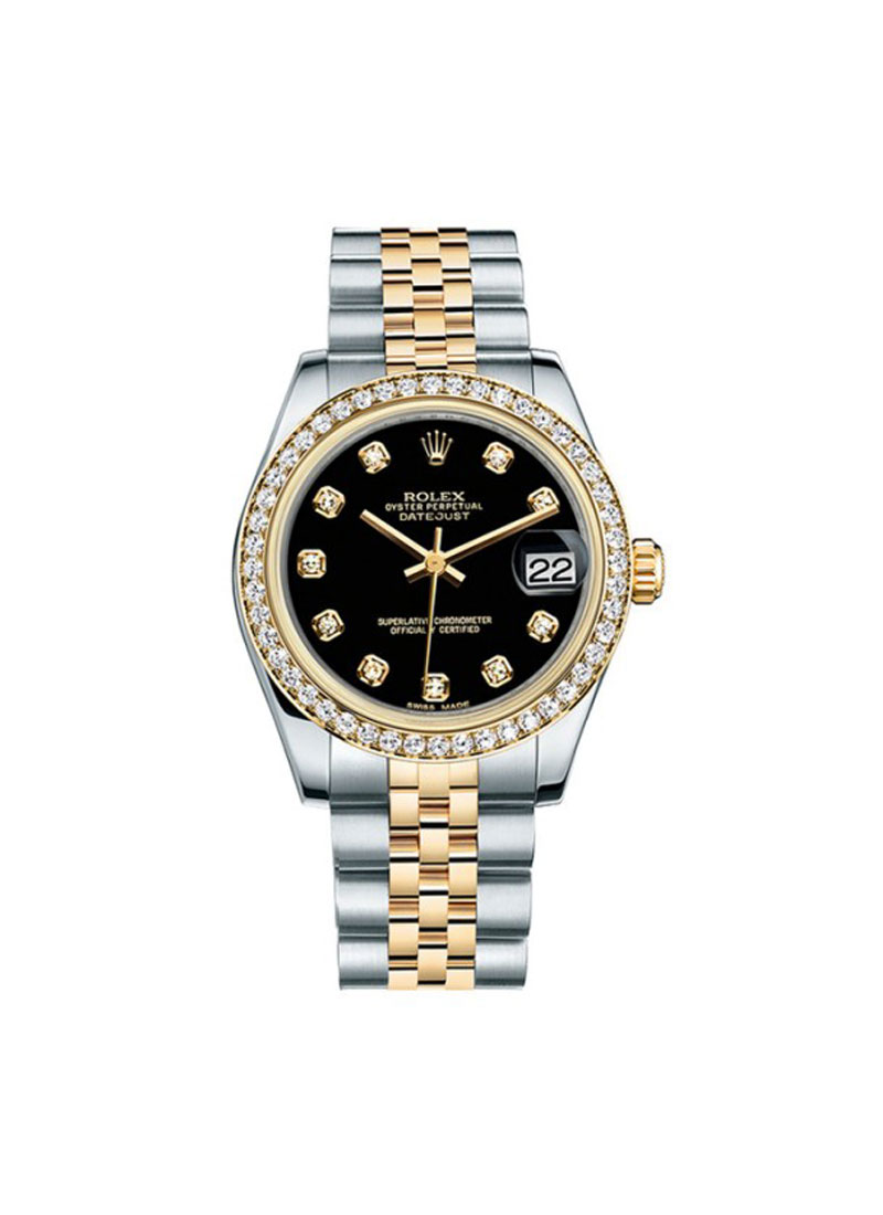 Rolex Unworn Datejust 31mm in Steel with Yellow Gold Diamond Bezel