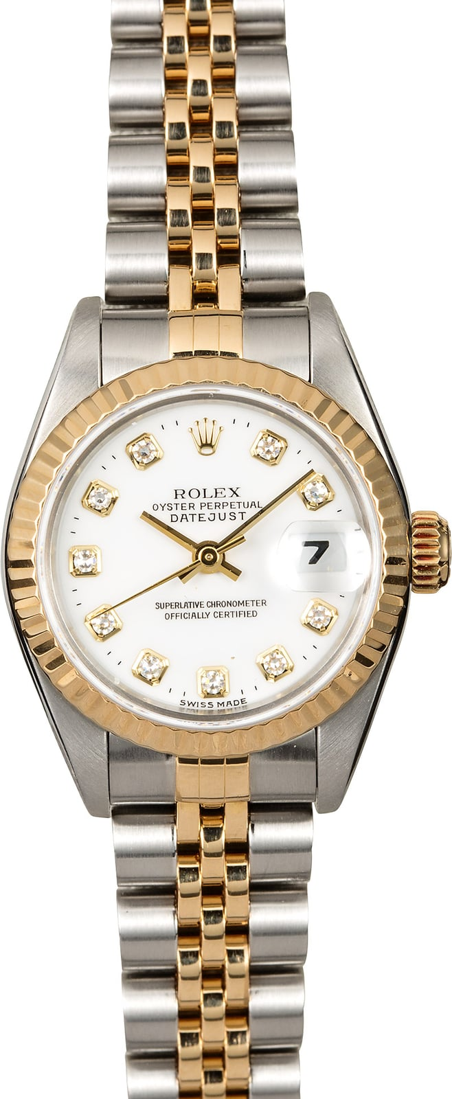 Rolex Used Datejust Ladys in Steel with Yellow Gold Fluted Bezel