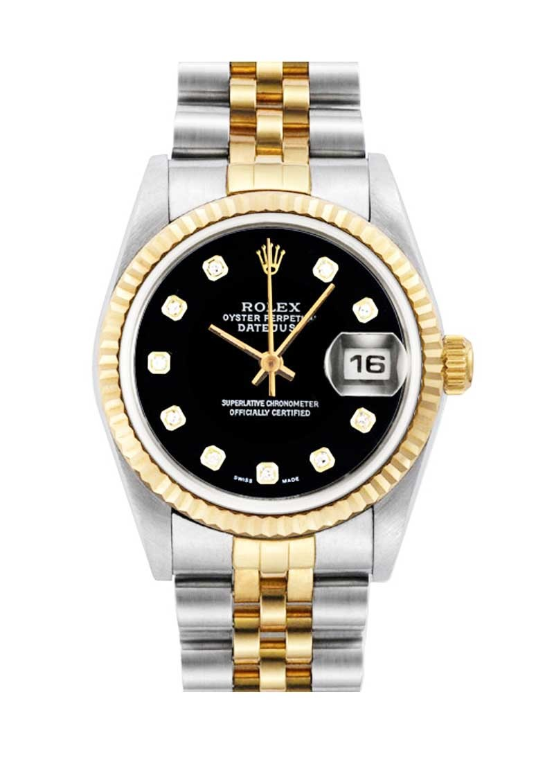 Pre-Owned Rolex Datejust Mid Size in Steel with Yellow Gold Fluted Bezel