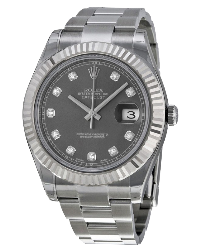 Rolex Used Datejust 36mm in Steel with White Gold Fluted Bezel