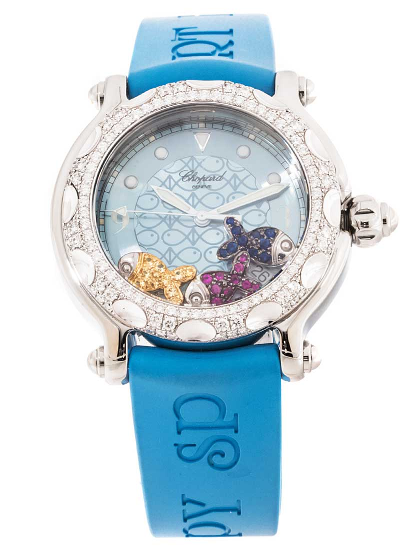 Chopard Happy Sport Fish in Steel with  White Gold Diamond Bezel
