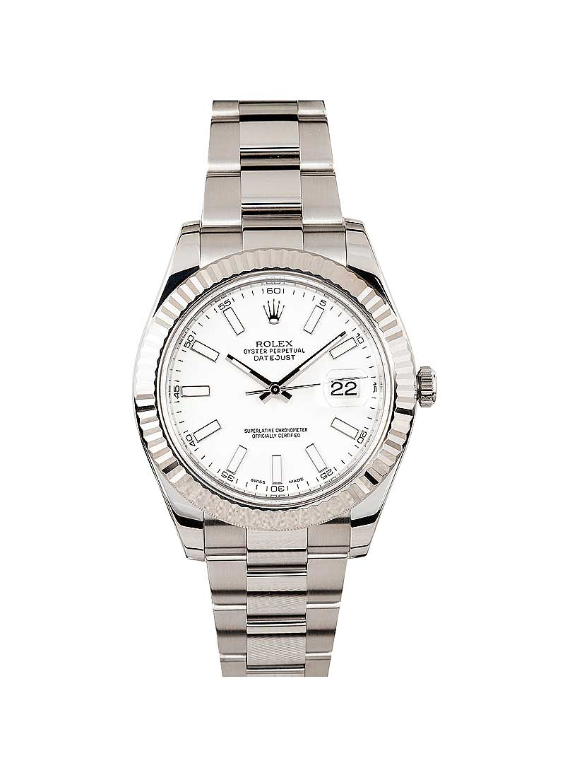 Rolex Used Datejust II 41mm in White Gold Fluted Bezel