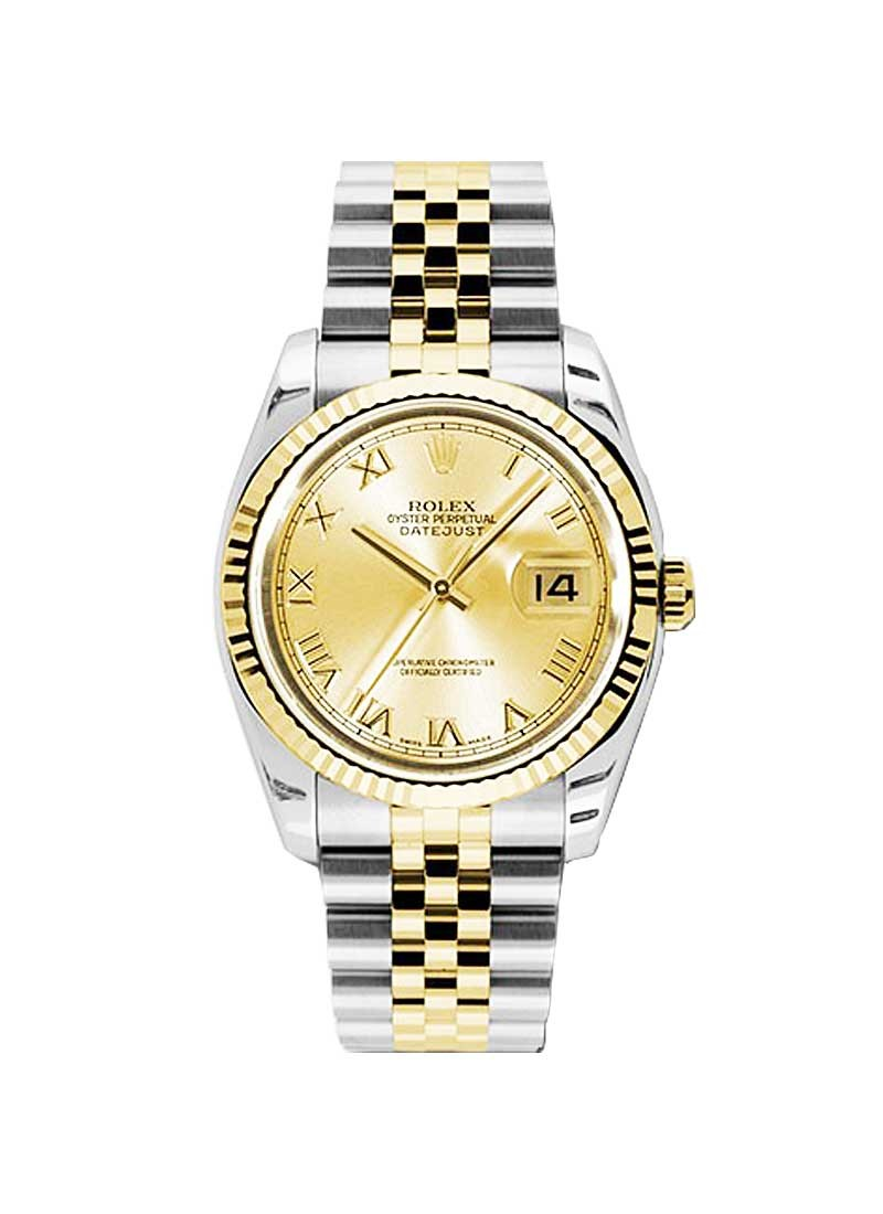 Pre-Owned Rolex Datejust 36mm in Steel with Yellow Gold Fluted Bezel