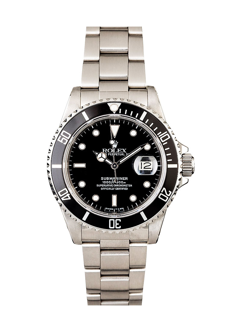 Pre-Owned Rolex Submariner in Steel with Black Bezel