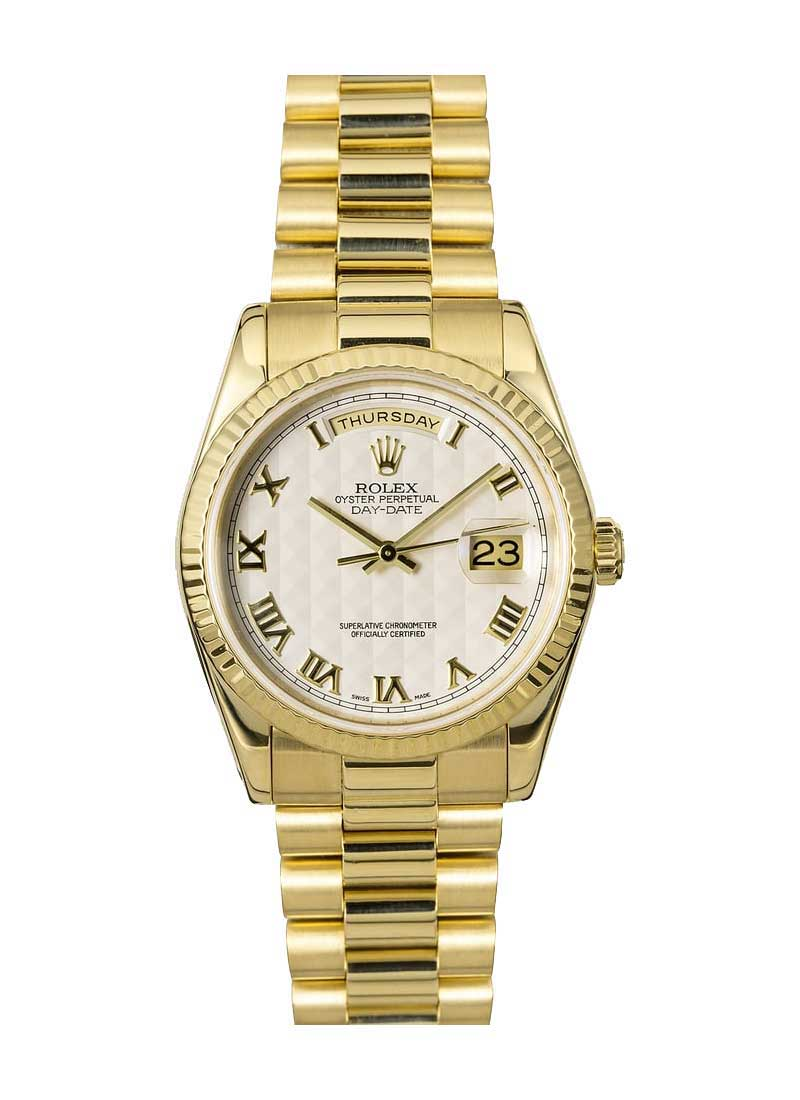 Rolex Used President Day Date 36mm in Yellow Gold with Fluted Bezel