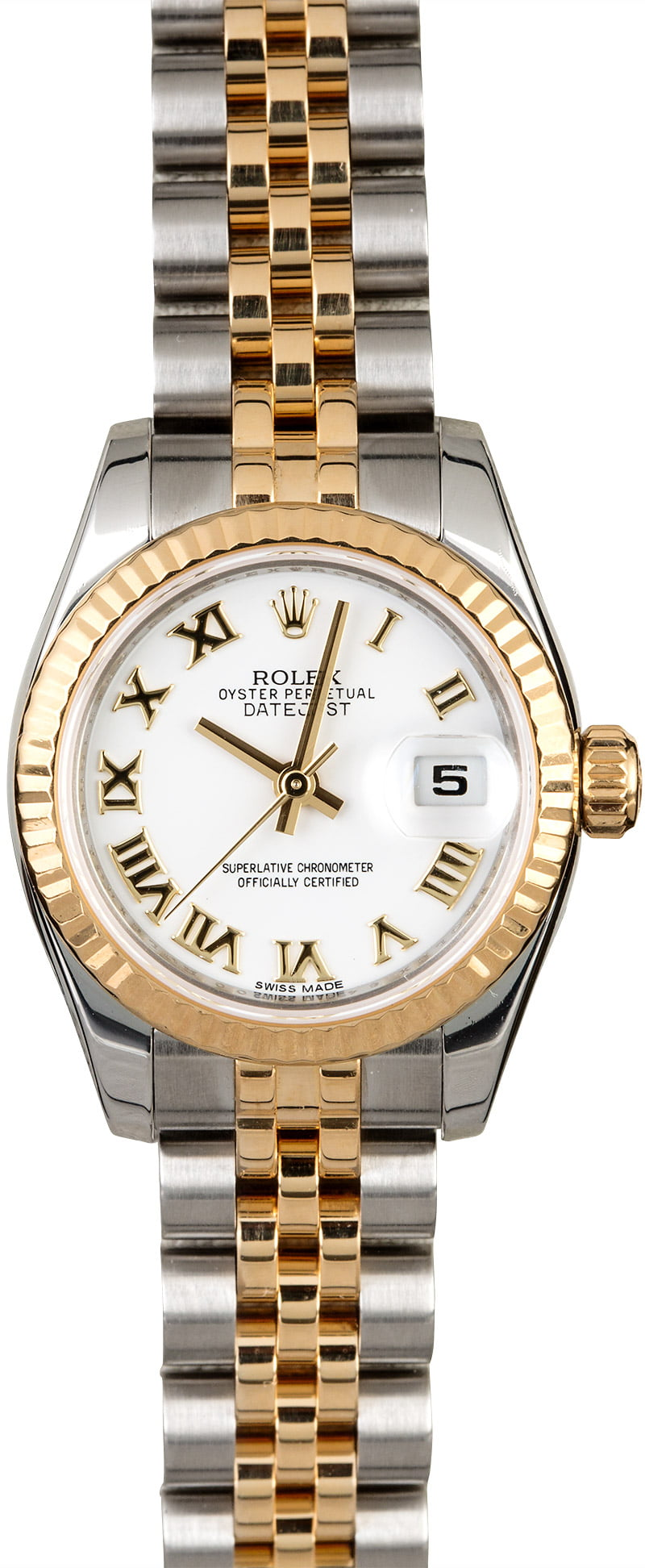 Rolex Used 2- Tone Datejust Ladies 26mm with Yellow Gold Fluted Bezel