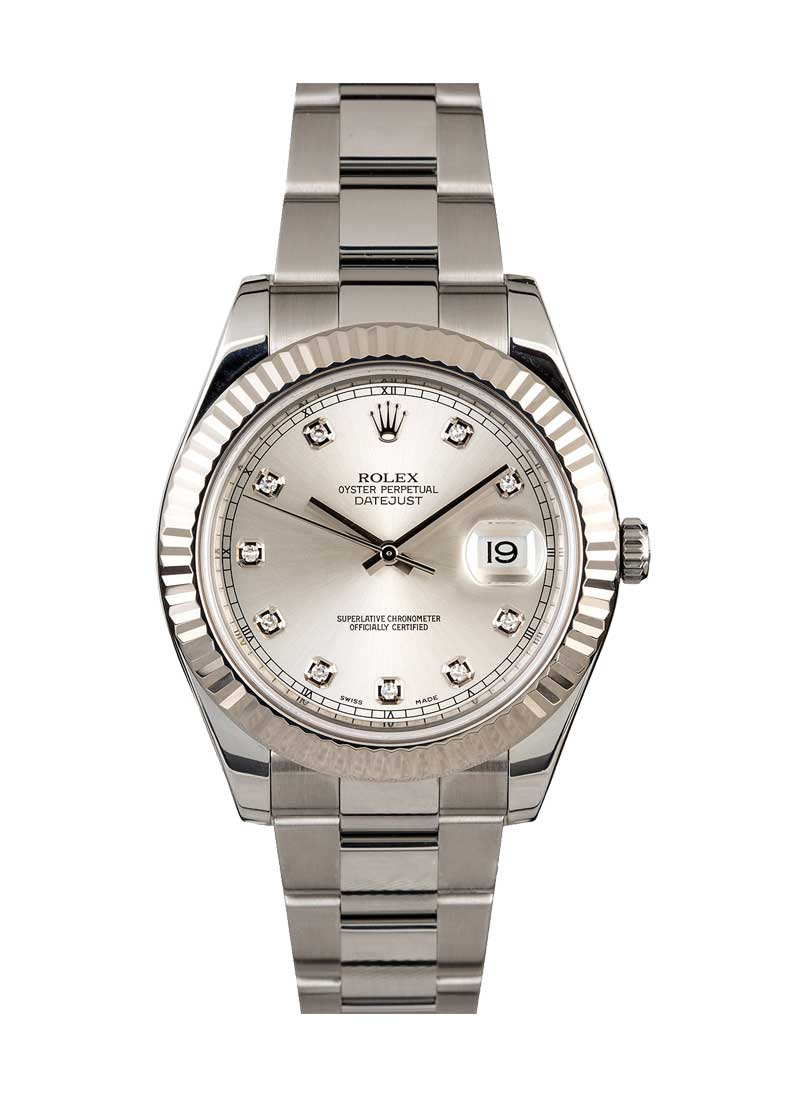 Rolex Used Datejust 41mm in Steel with White Gold Fluted Bezel