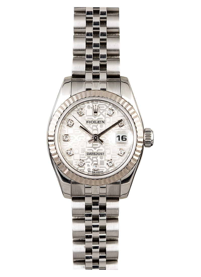 Pre-Owned Rolex Datejust Lady's in Steel with White Gold Fluted Bezel
