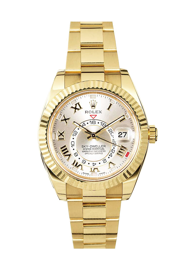 Pre-Owned Rolex Sky Dweller 42mm in Yellow Gold with Fluted Bezel