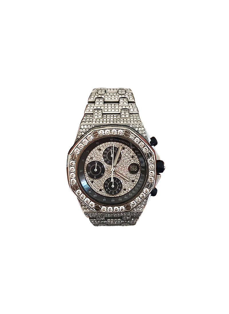 Audemars Piguet Royal Oak Chronograph in Steel with Custom Added Diamonds Bezel