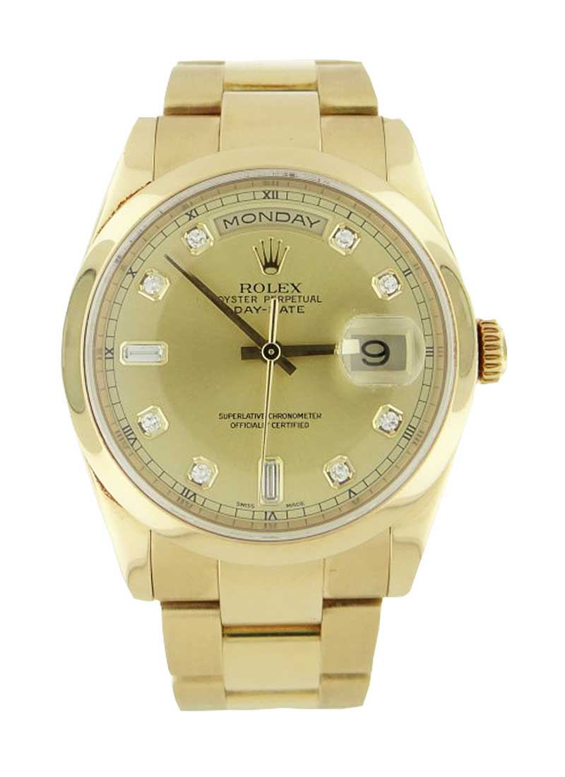 Pre-Owned Rolex Day Date President 36mm in Yellow Gold with Domed Bezel