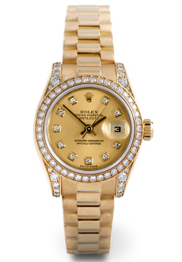 Pre-Owned Rolex President Ladies in Yellow Gold with Diamond Bezel and Lugs