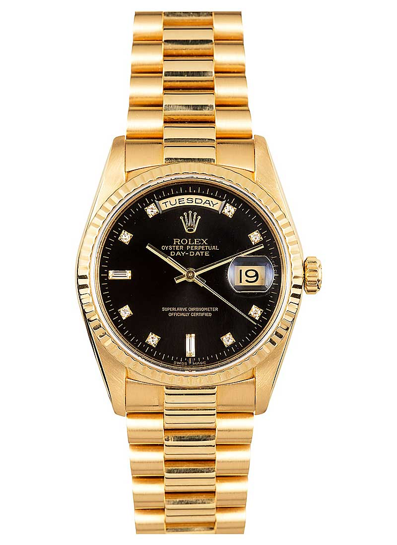 Pre-Owned Rolex President Day-Date 36mm in Yellow Gold with Fluted Bezel