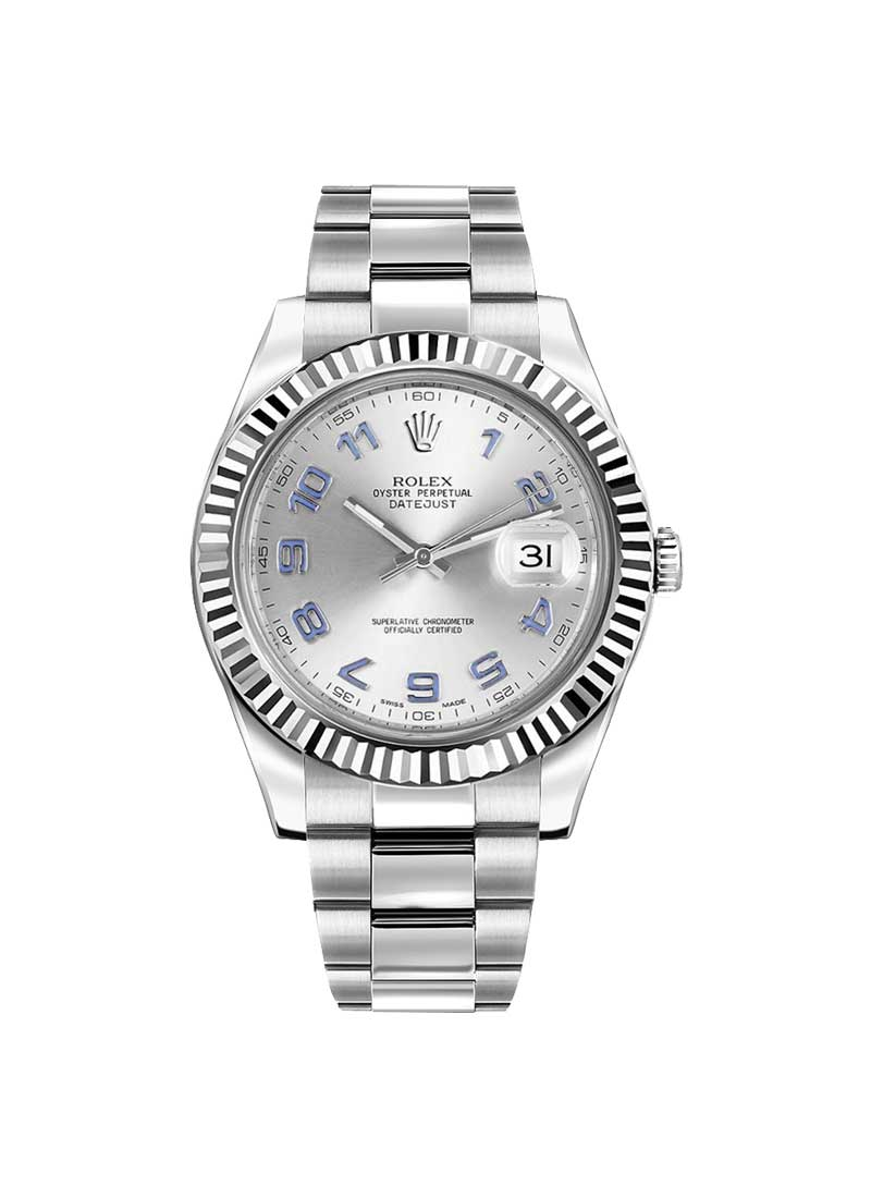 Rolex Used Datejust II 41mmin Steel with White Gold Fluted Bezel