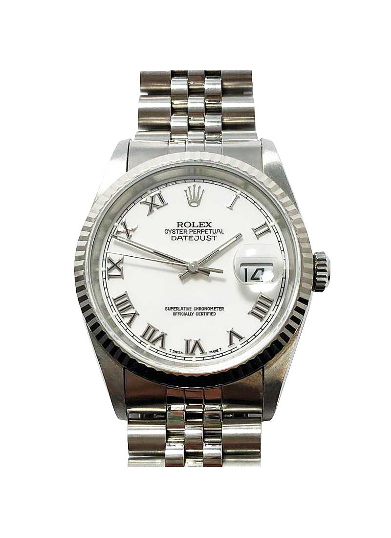 Pre-Owned Rolex Datejust  36mm in Steel with WG Fluted Bezel