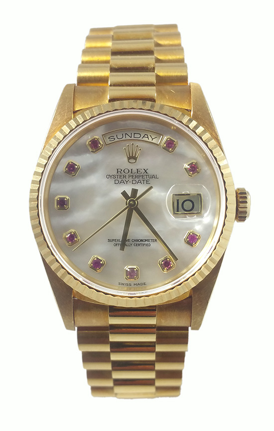 Pre-Owned Rolex Day Date 36mm President in Yellow Gold with Fluted Bezel