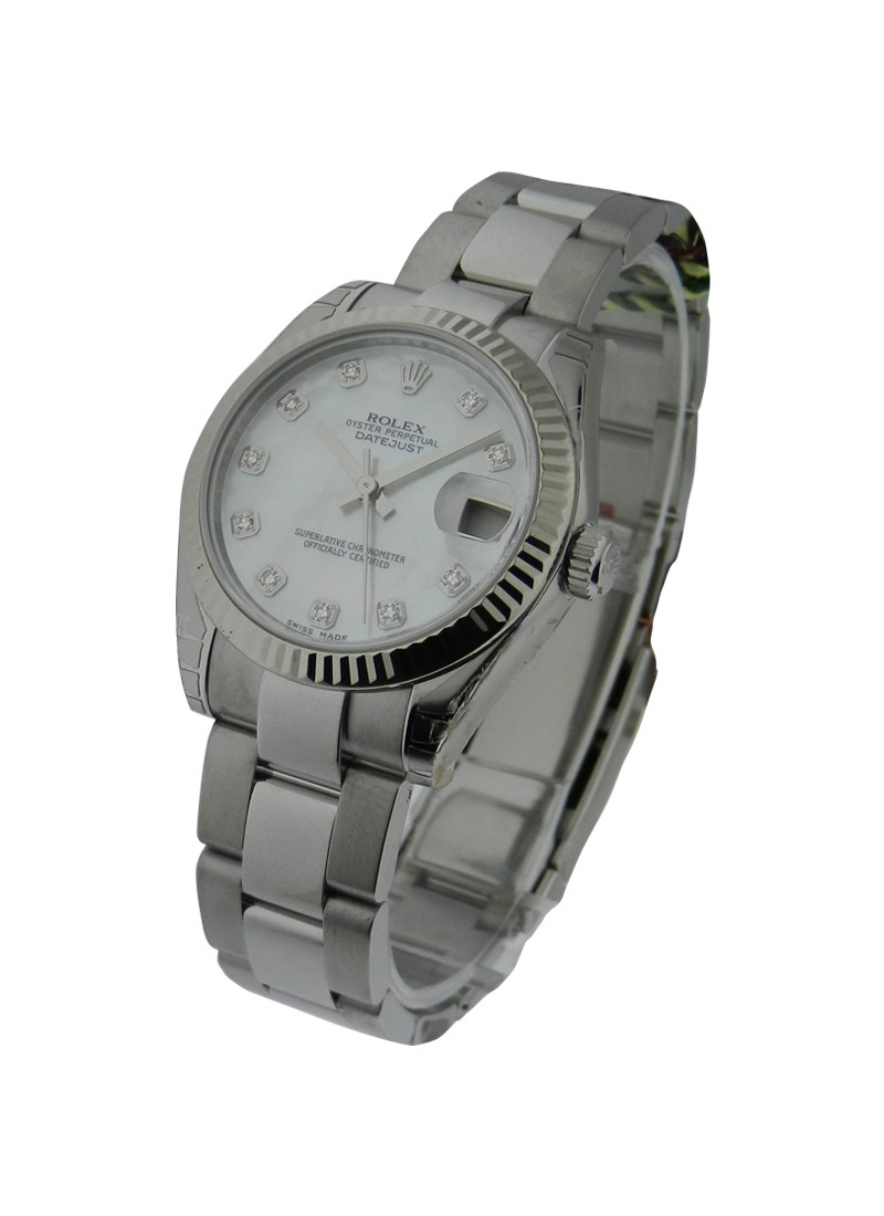 Pre-Owned Rolex Datejust Midsize 31mm in Steel with White Gold Fluted Bezel