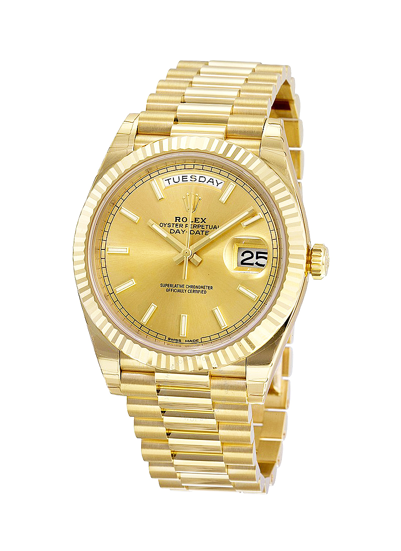 Pre-Owned Rolex President Day Date 41mm in Yellow Gold Fluted Bezel