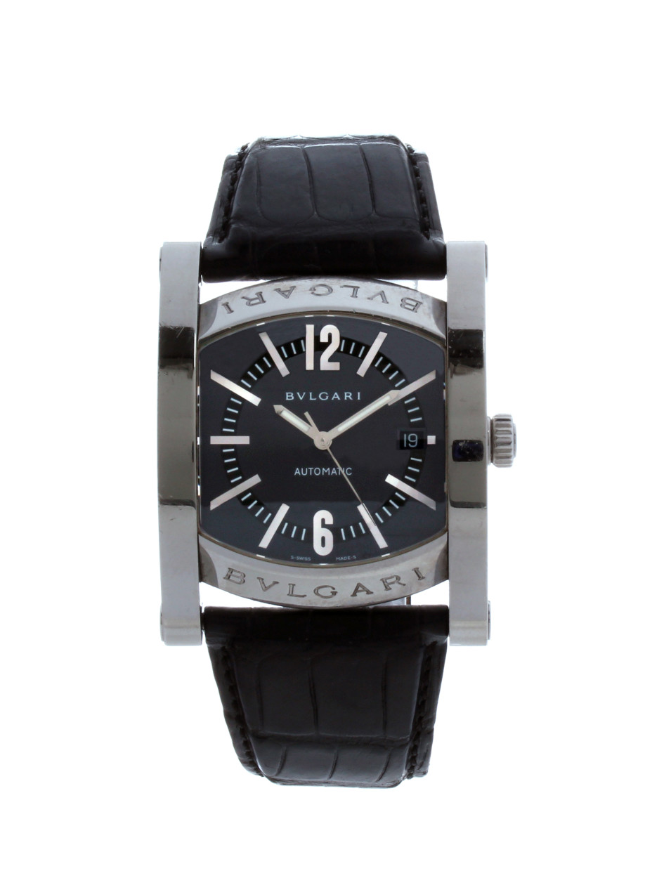 51996fe7772 Assioma in Steel on Black Alligator Leather Strap with Black Dial