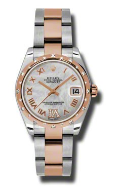 Rolex Used Mid Size Datejust - Steel with Rose Gold Domed Diamond Bezel - 31mm