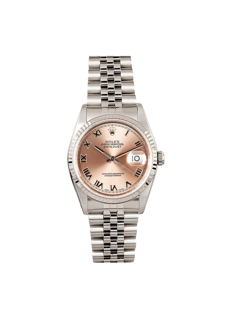 Pre-Owned Rolex Datejust 36mm with White Gold Fluted Bezel