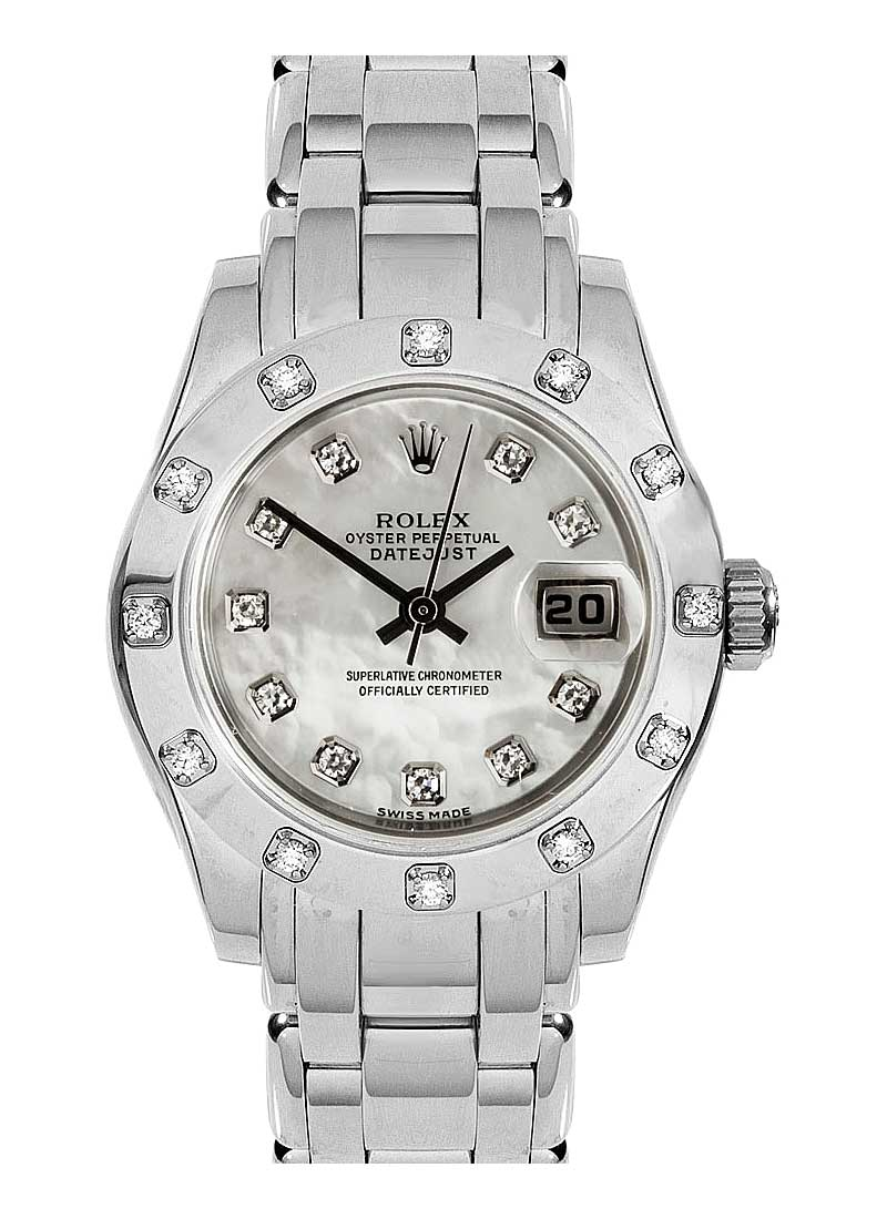 Pre-Owned Rolex Masterpiece Lady's in White Gold with 12 Diamond Bezel