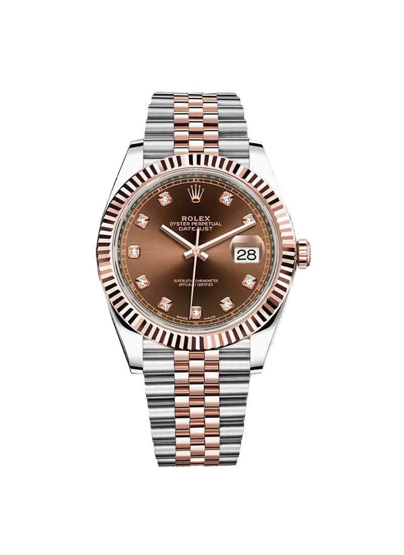Rolex Used Datejust 2 41mm in Steel with Rose Gold Fluted Bezel