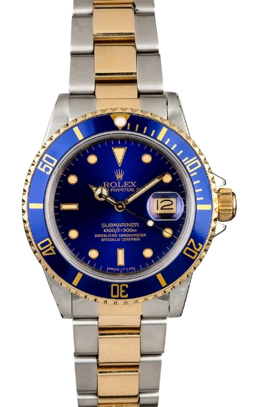 Pre-Owned Rolex Submariner 2-Tone in Steel with Yellow Gold Blue Bezel