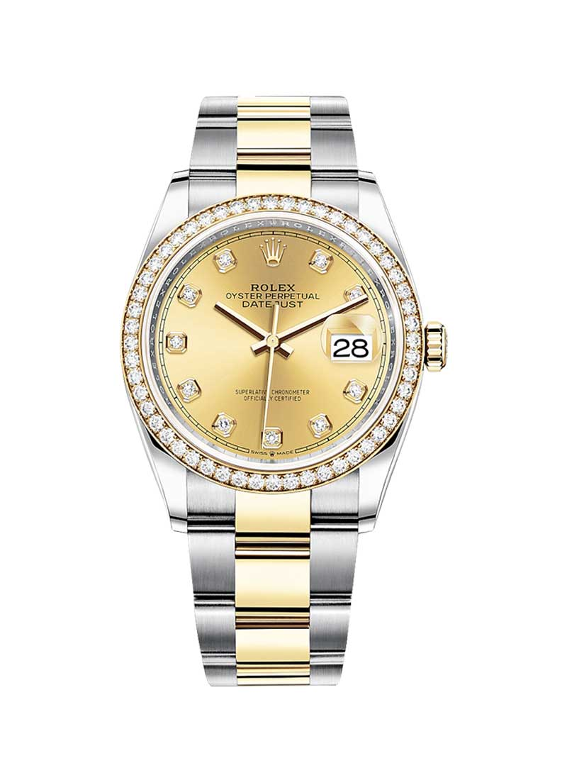 Rolex Unworn Datejust 36mm in Steel with Yellow Gold Diamond Bezel