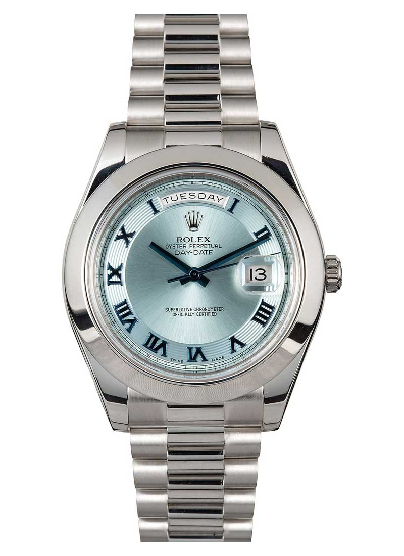 Pre-Owned Rolex Day Date 41mm President in Platinum with Smooth Bezel
