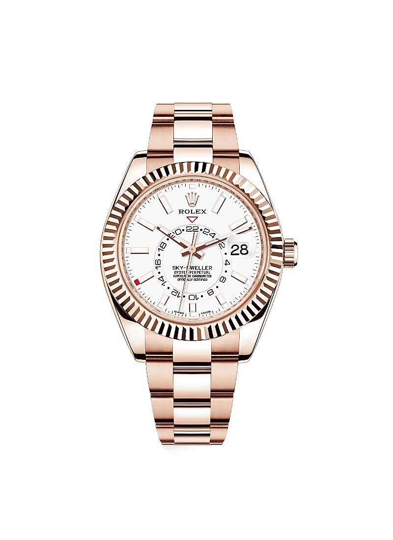 Rolex Unworn Sky Dweller 42mm in Rose Gold with Fluted Bezel