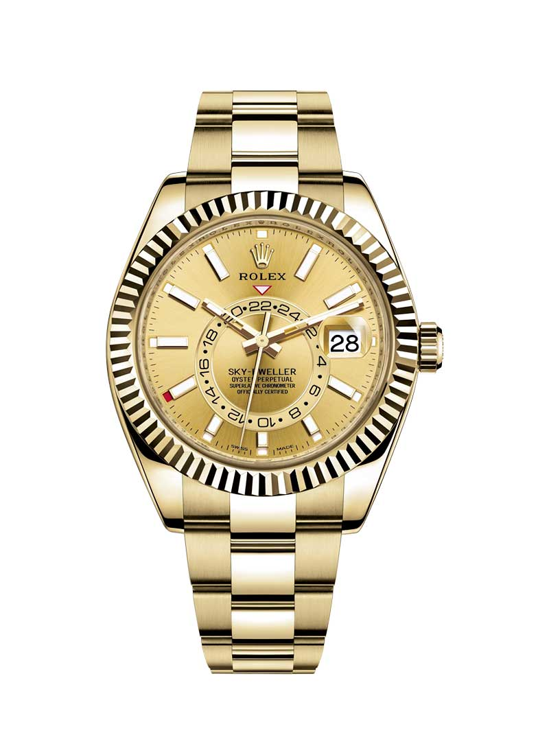 Rolex Unworn Sky Dweller 42mm in Yellow Gold with Fluted Bezel