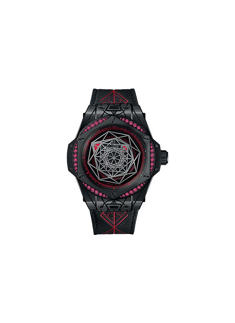 Hublot Big Bang Sang Bleu All Black Red in Black Ceramic and Black Plated Titanium Diamond Bezel