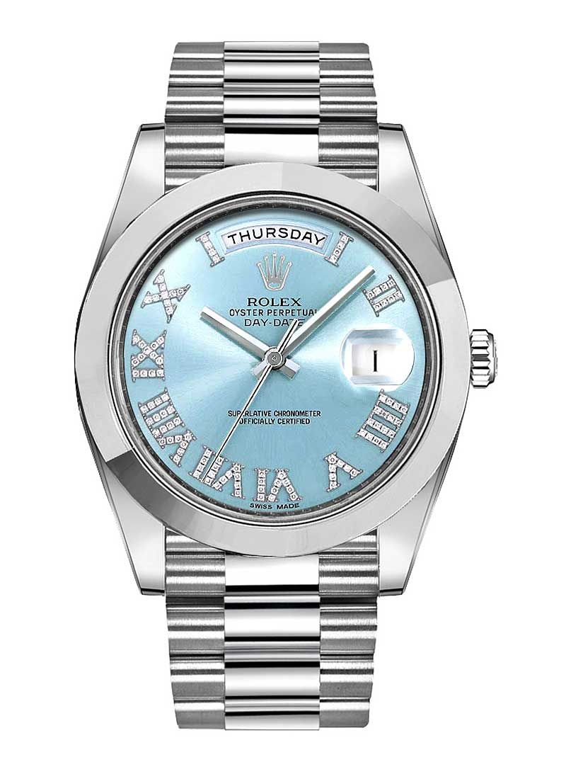 Rolex Used Day Date President II in Platinum with Smooth Bezel