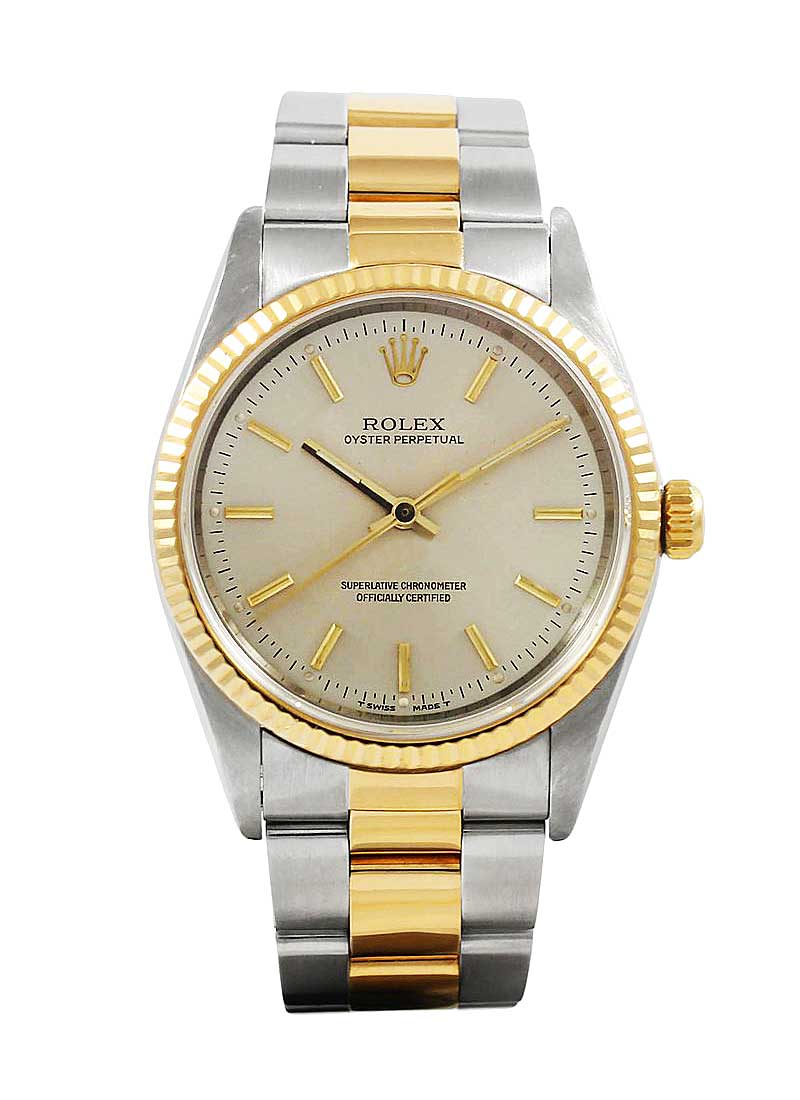 Rolex Used Oyster Perpetual No Date in Steel with Yellow Gold Smooth Bezel