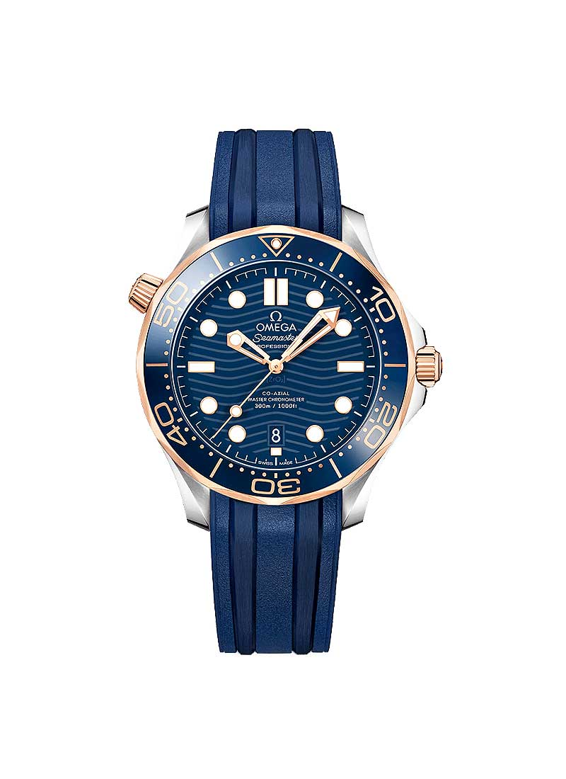 Omega Seamaster Diver 300M Co-Axial Master in Steel and Rose Gold with Blue Bezel