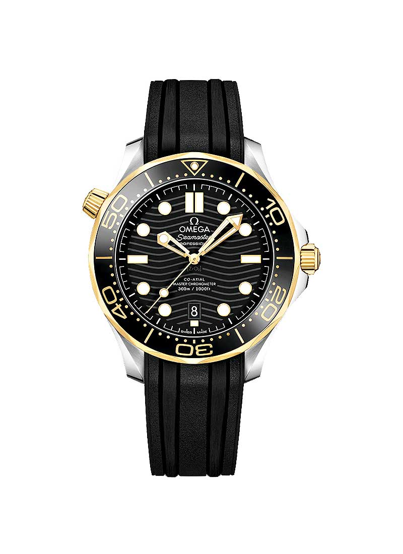 Omega Seamaster Diver 300M Co-Axial Master in Steel and Rose Gold with Black Bezel