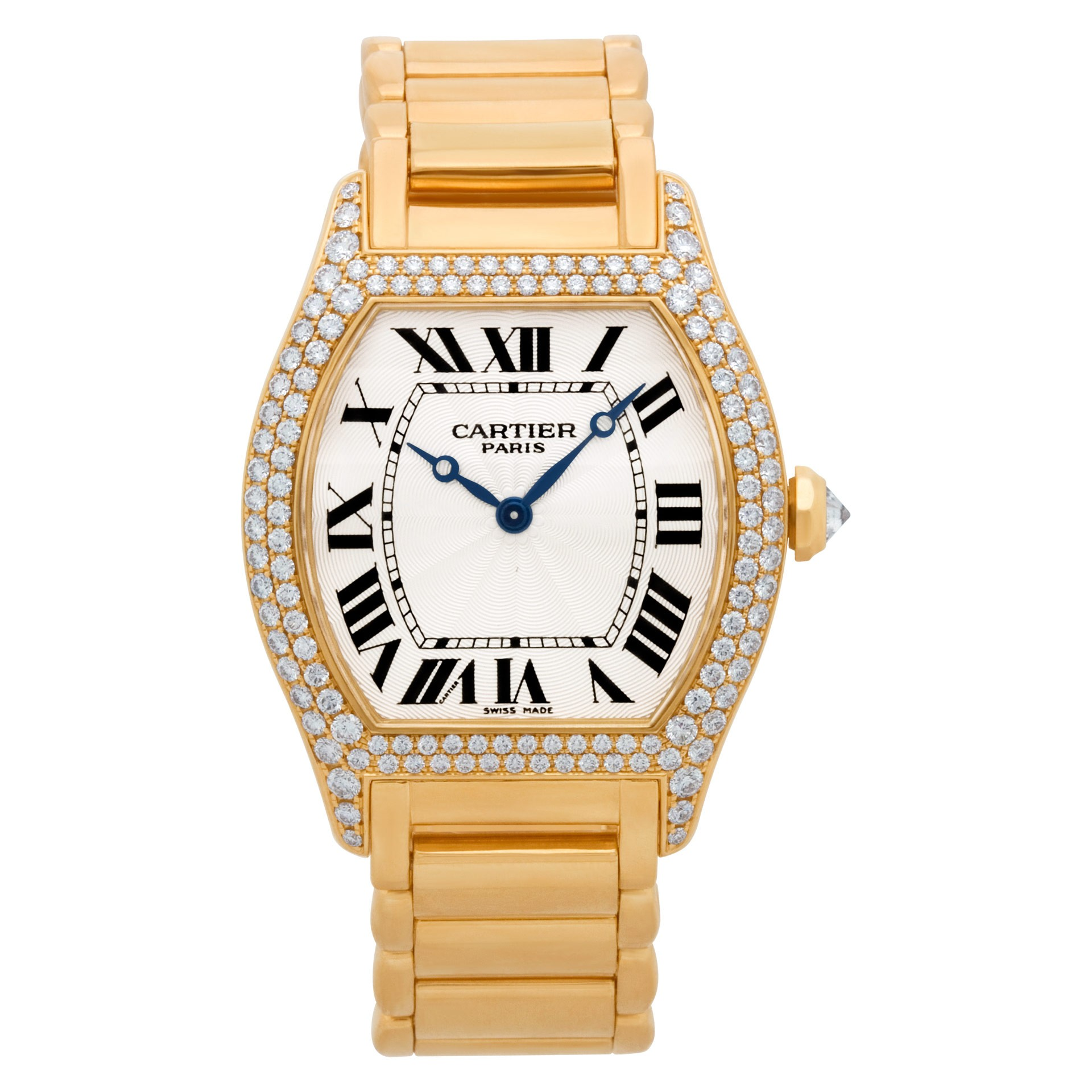 Cartier Tortue 33mm in Yellow Gold with Diamonds Bezel and Lugs