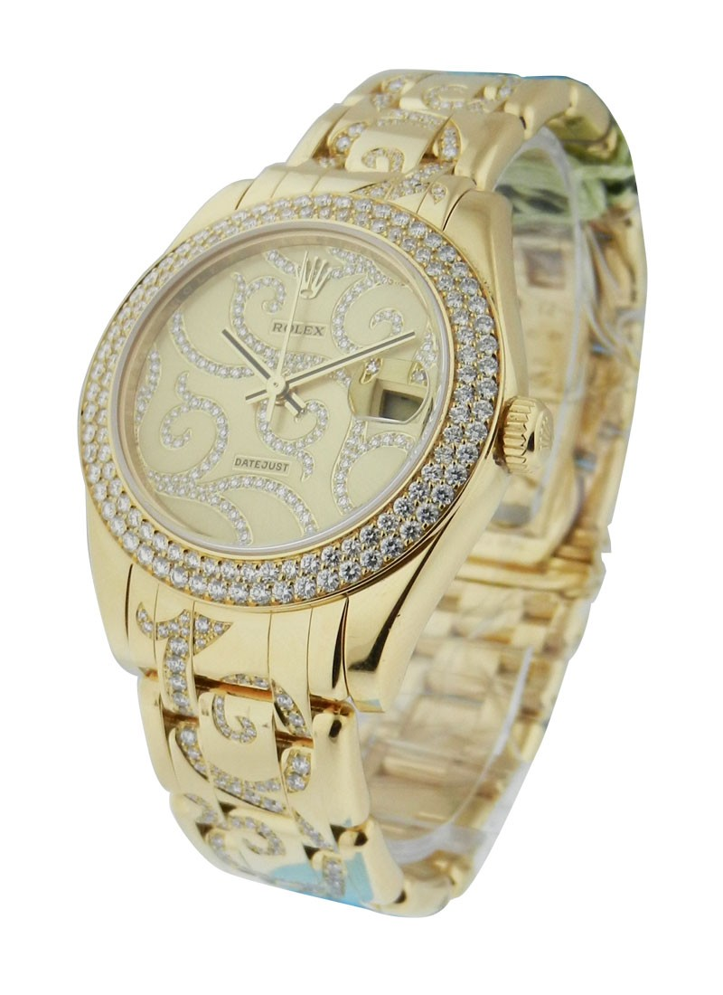 Rolex Used Masterpiece 34mm Midsize in Yellow Gold with 2-Row Diamond Bezel