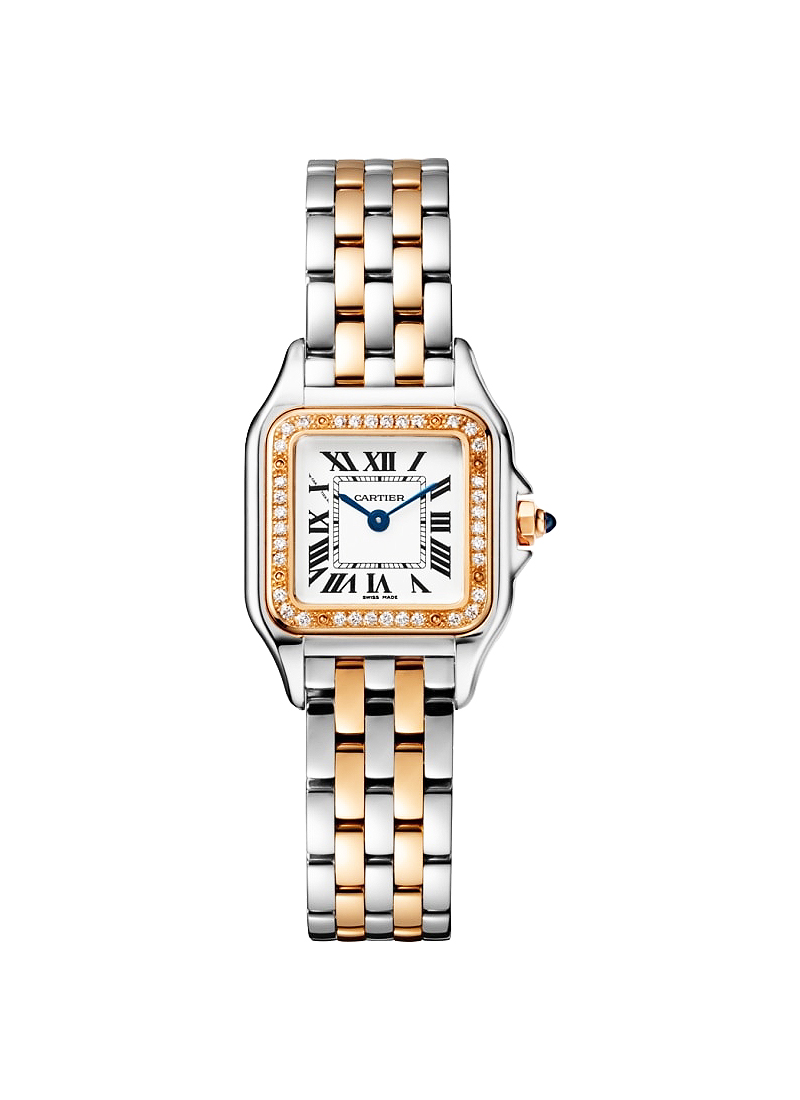 Cartier Panthere de Cartier in Steel with Rose Gold Diamond Bezel