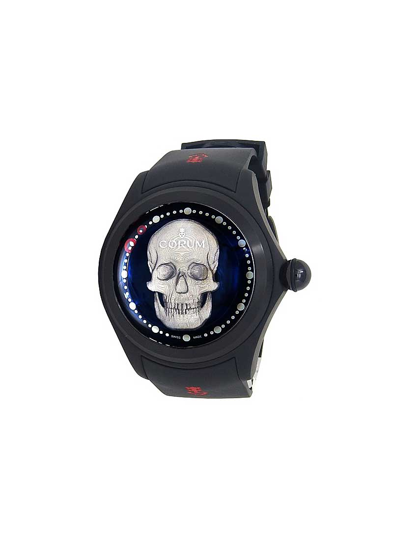 Corum Big Bubble Magical 52 3D Skull - Black PVD Titanium