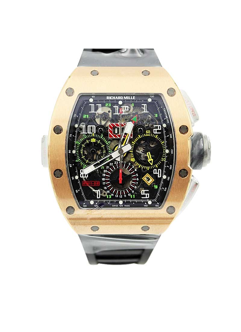 Richard Mille RM 11-02 GMT Flyback Chronograph Dual Time Zone in Rose Gold and Titanium