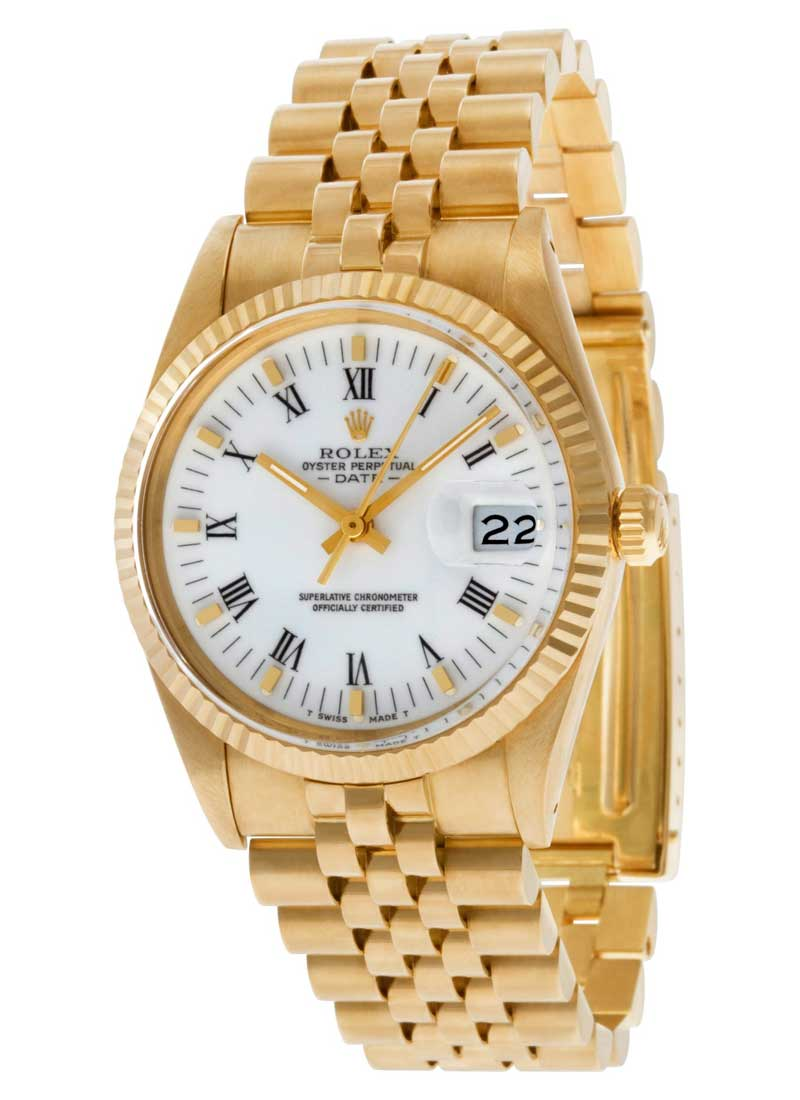 Pre-Owned Rolex Oyster Perpetual Date 15037 in Yellow Gold Fluted Bezel