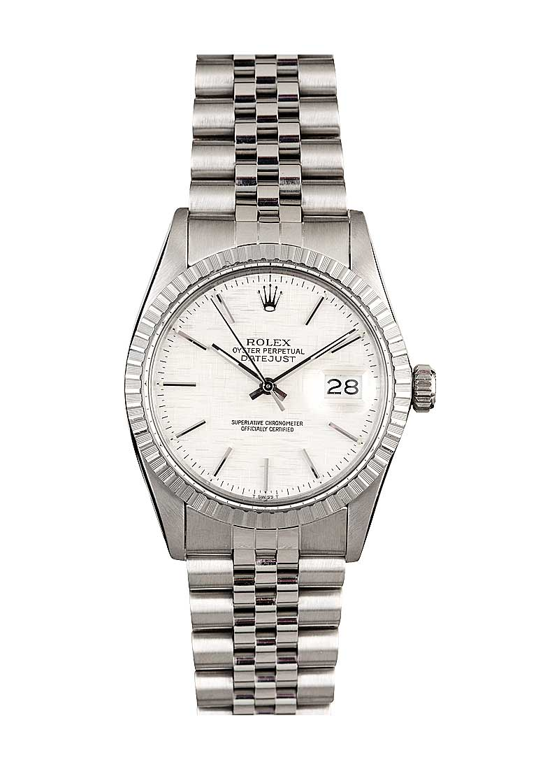 Pre-Owned Rolex Datejust 36mm in Steel with Engine Turned Bezel
