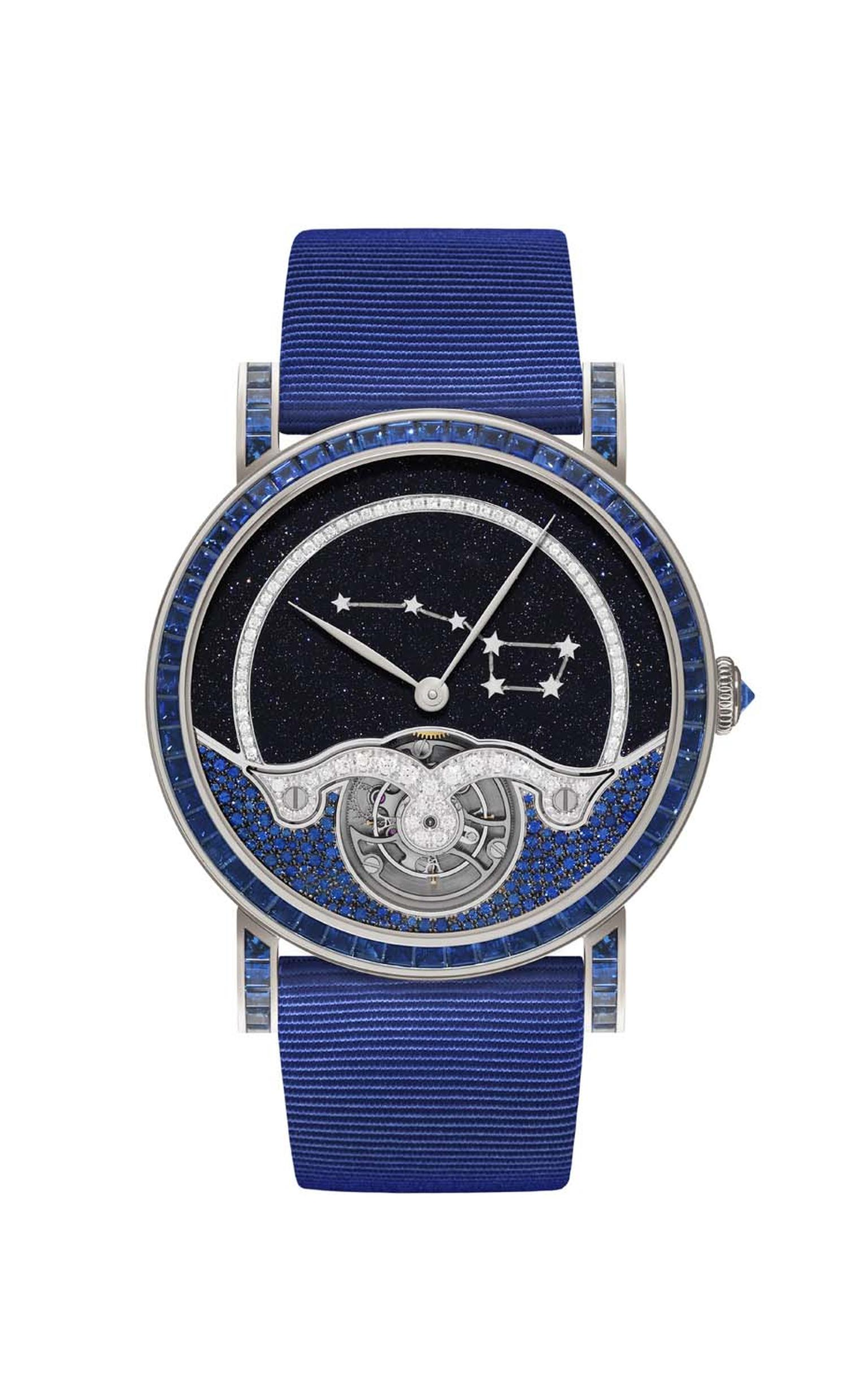 Delaneau Rondo Tourbillon Ursa Major Constellation in White Gold with Sapphire Baguette Bezel