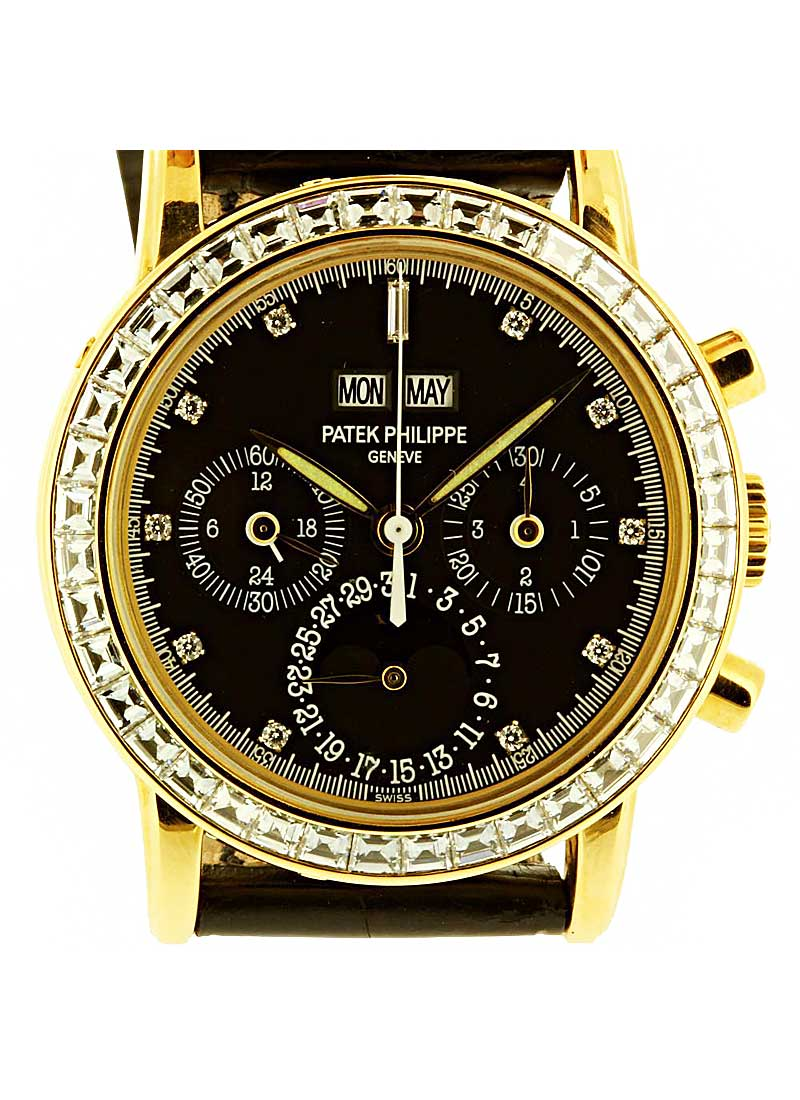 Patek Philippe Perpetual Calendar Chronograph 3990 in Yellow Gold with Baguette Diamond Bezel