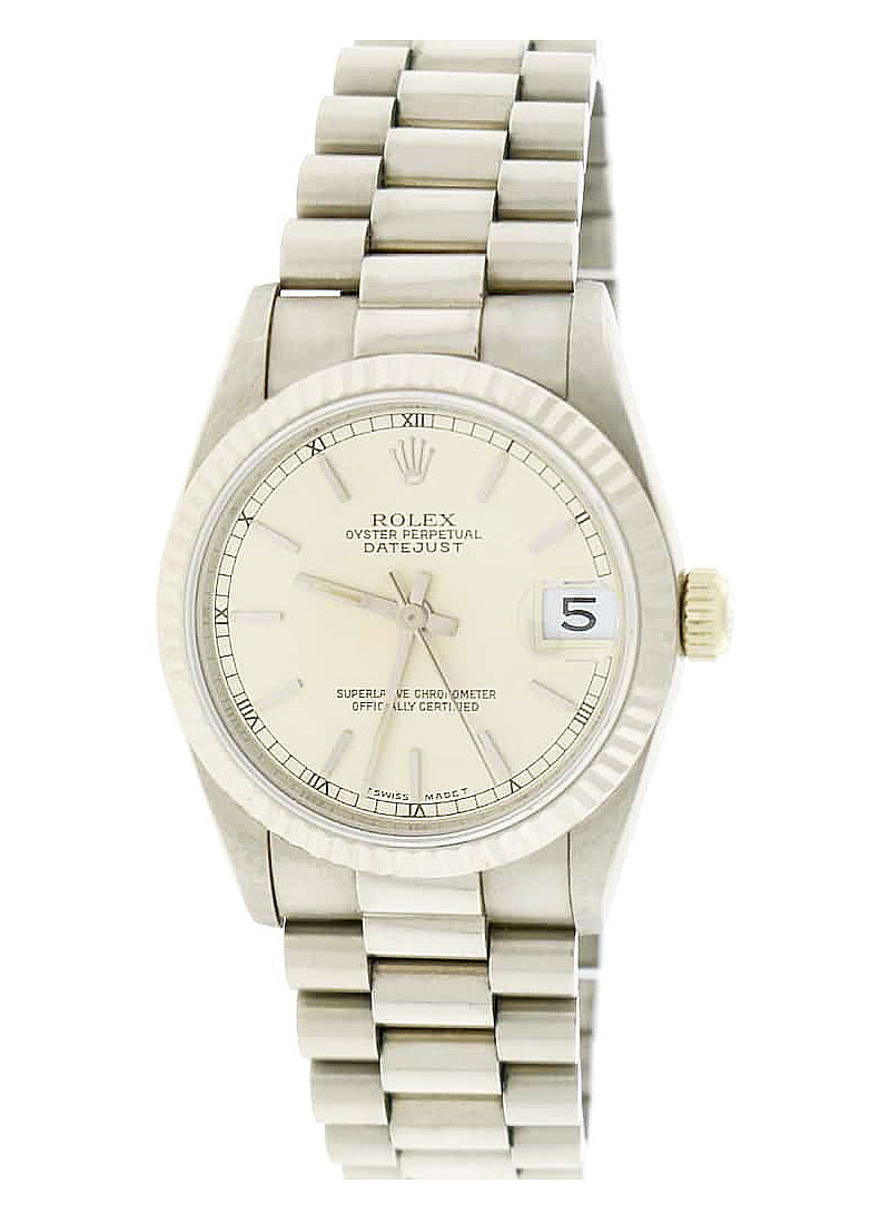 Pre-Owned Rolex President 31mm Mid Size in White Gold with Fluted Bezel