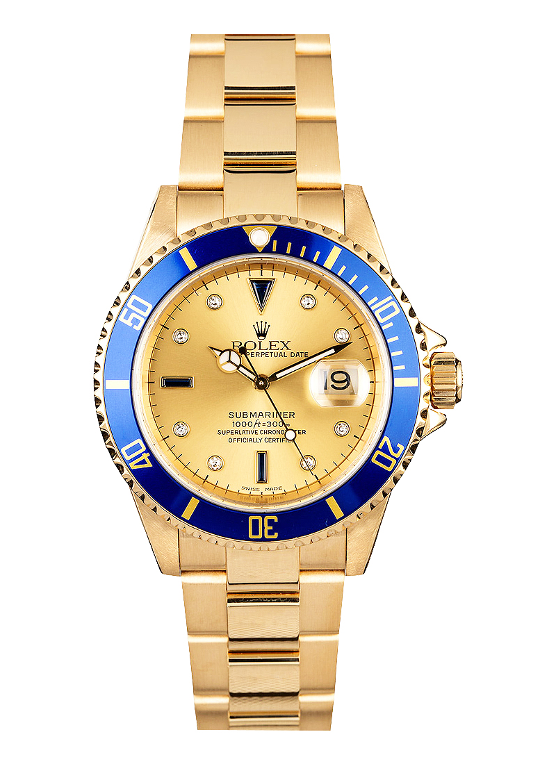 Pre-Owned Rolex Submariner 40mm in Yellow Gold with Blue Ceramic Bezel